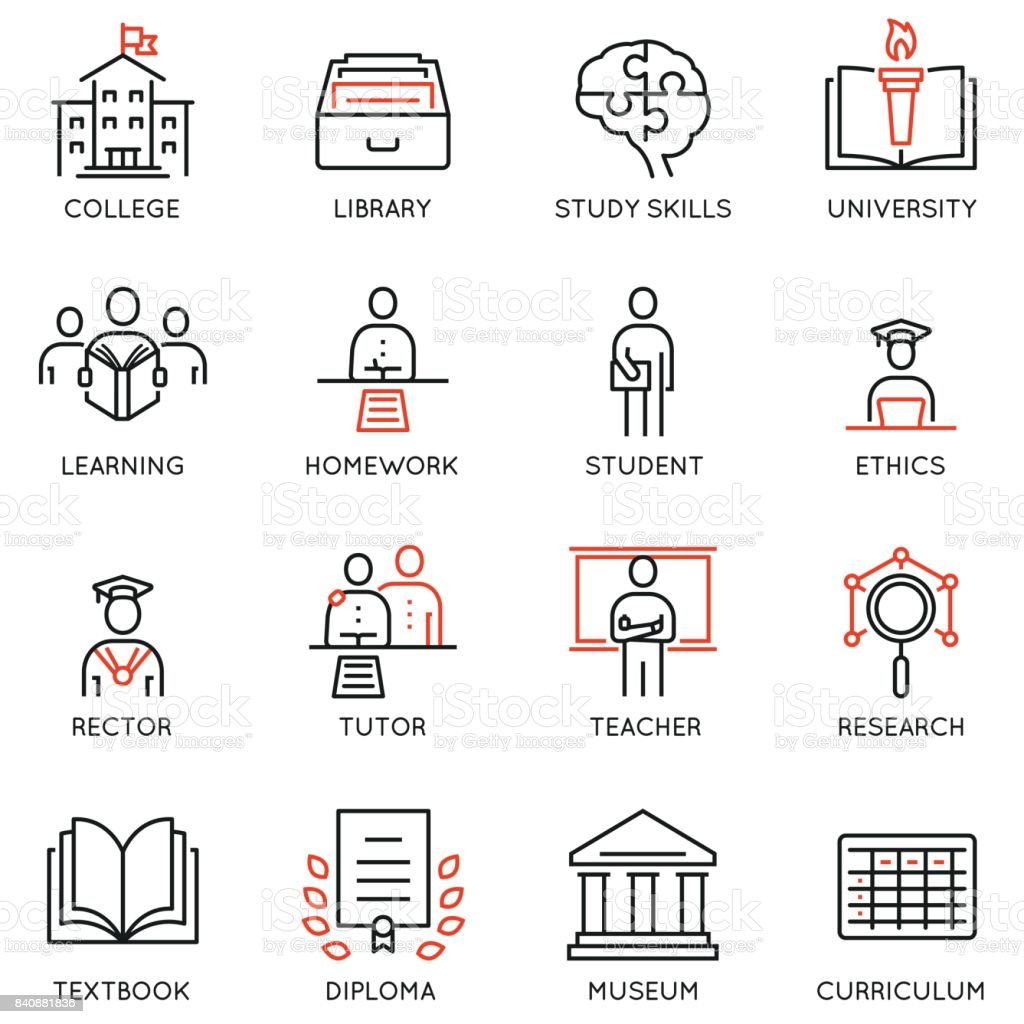 Vector set outline icons related to educational process, career progress, training, tutorship and professional consulting service. Mono line pictograms and infographics design elements - 1 vector art illustration