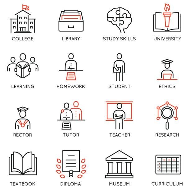 Vector set outline icons related to educational process, career progress, training, tutorship and professional consulting service. Mono line pictograms and infographics design elements - 1 Vector set outline icons related to educational process, career progress, training, tutorship and professional consulting service. Mono line pictograms and infographics design elements - 1 students stock illustrations