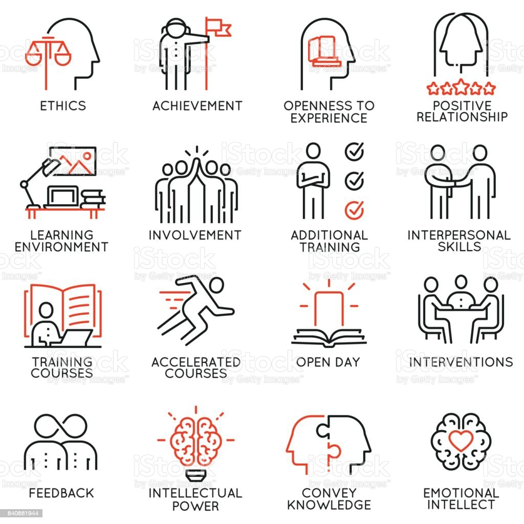 Vector set outline icons related to educational process, career progress, training, tutorship and professional consulting service. Mono line pictograms and infographics design elements - 3 vector art illustration