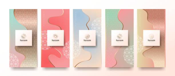 Vector set packaging templates japanese of nature luxury or premium products.logo design with trendy linear style.voucher, flyer, brochure,wallpaper.Menu book cover japan style vector illustration. vector art illustration