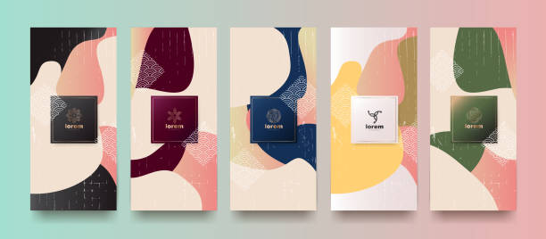 Vector set packaging templates japanese of nature luxury or premium products.logo design with trendy linear style.voucher, flyer, brochure.Menu book cover japan style vector illustration. vector art illustration