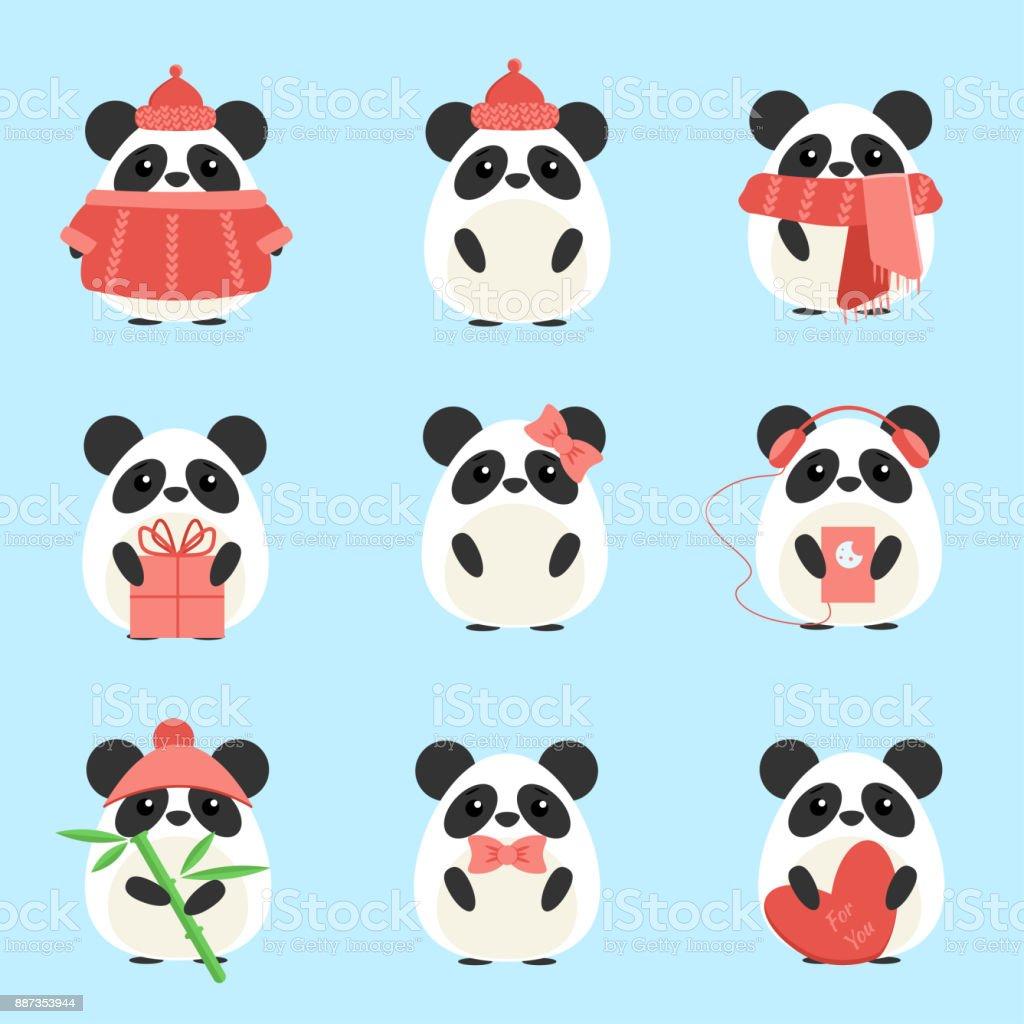 Ilustración de Vector Set Pandas En Ropa De Abrigo Con Diferentes ...