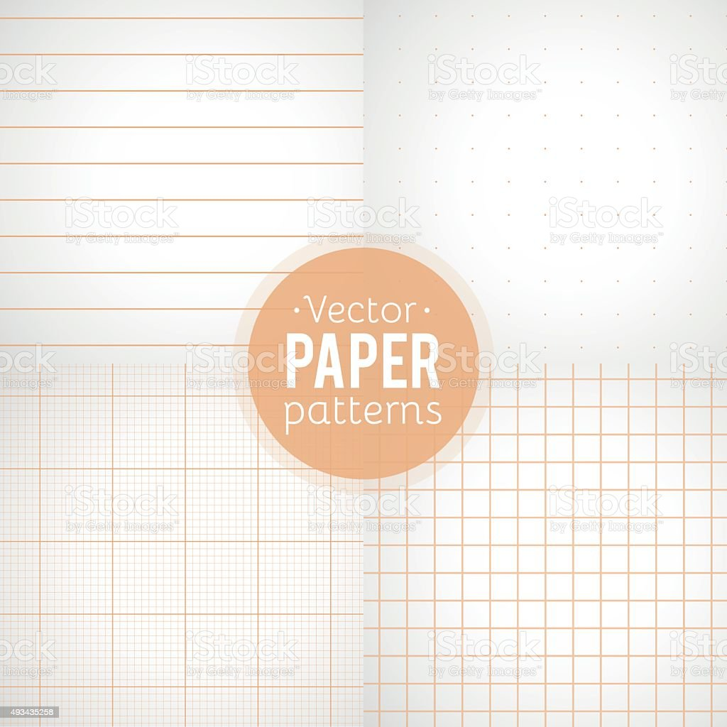 Vector set: paper patterns. Ruled, dotted, millimeter and squared papers vector art illustration