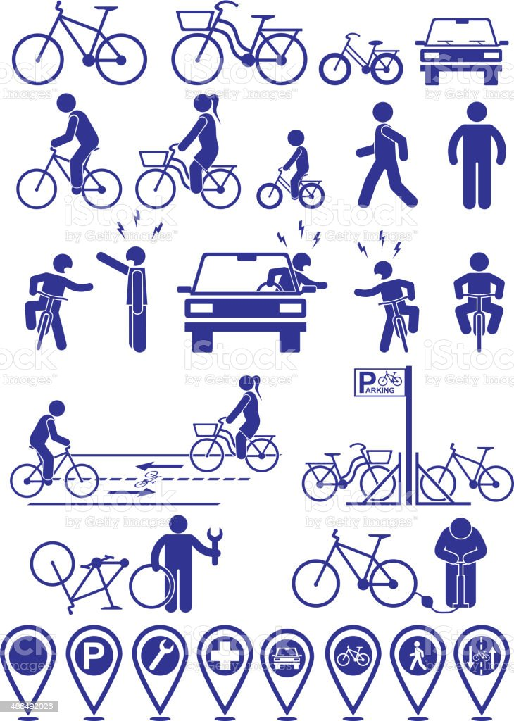 Vector set pictograms bicycle infrastructure icons. vector art illustration