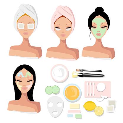 Vector set portrait of a girls with beauty procedures