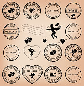 vector set - romantic grungy post stamps for valentine day. Eps 8.