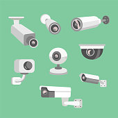 Vector set security camera. CCTV cartoon illustration. Safety and watching