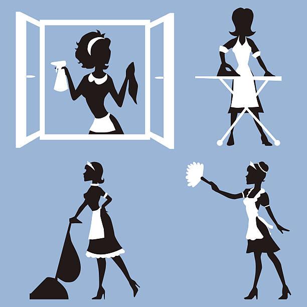 illustrazioni stock, clip art, cartoni animati e icone di tendenza di set vettoriale di silhouette donna pulizia - cameriera