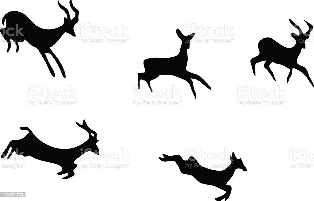 Vecteur série :  des silhouettes de chèvres de montagne - Illustration vectorielle