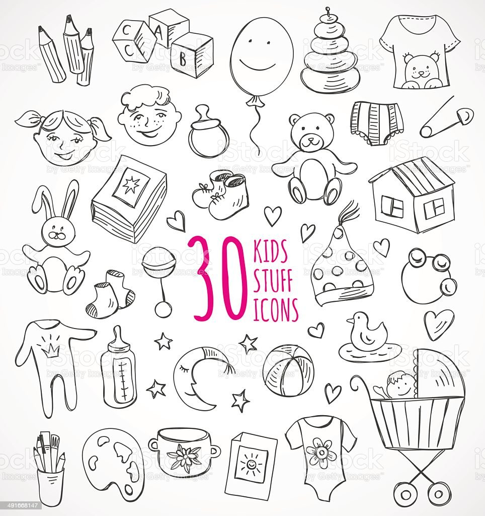 vector set sketch icons kids children baby stuff clothes toys royalty free stock vector art - Sketch Images For Kids