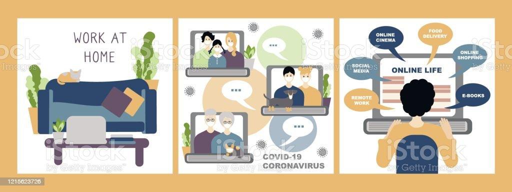 Vector Set, bleiben Sie zu Hause Konzept. Internet-Kommunikation mit der Familie, Arbeit zu Hause und Online-Leben. Coronavirus-Konzept Neuartiges Coronavirus 2019-nCoV, covid-19 - Lizenzfrei Alt Vektorgrafik