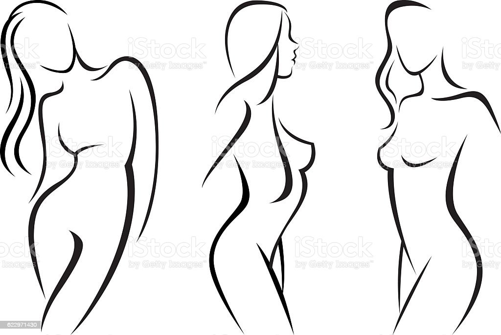 Vector set stylized beautiful women silhouettes vector art illustration