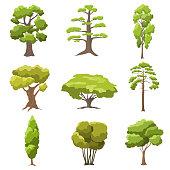 Vector set stylized tree