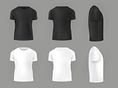 Vector set template of male T-shirts front, side, rear