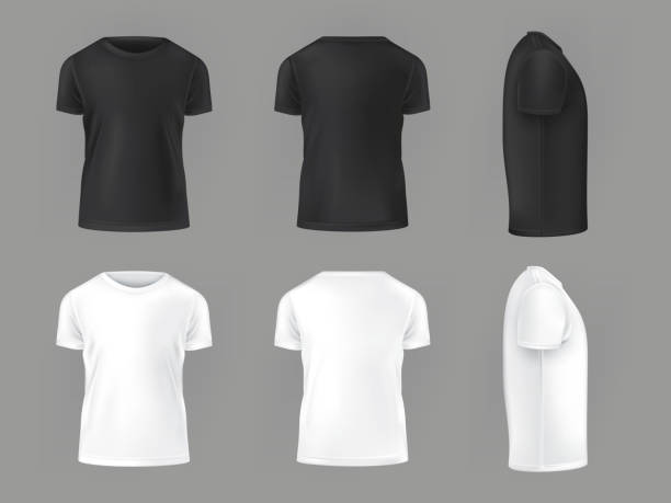 Vector set template of male T-shirts Vector set template of male T-shirts front, side, rear back stock illustrations