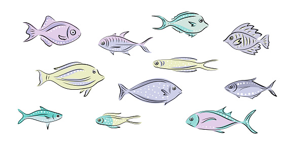 Vector set that represent various sea animals. Abstract decorative cute fish illustration in hand drawing or cartoon style. Graphic design elements for print and web