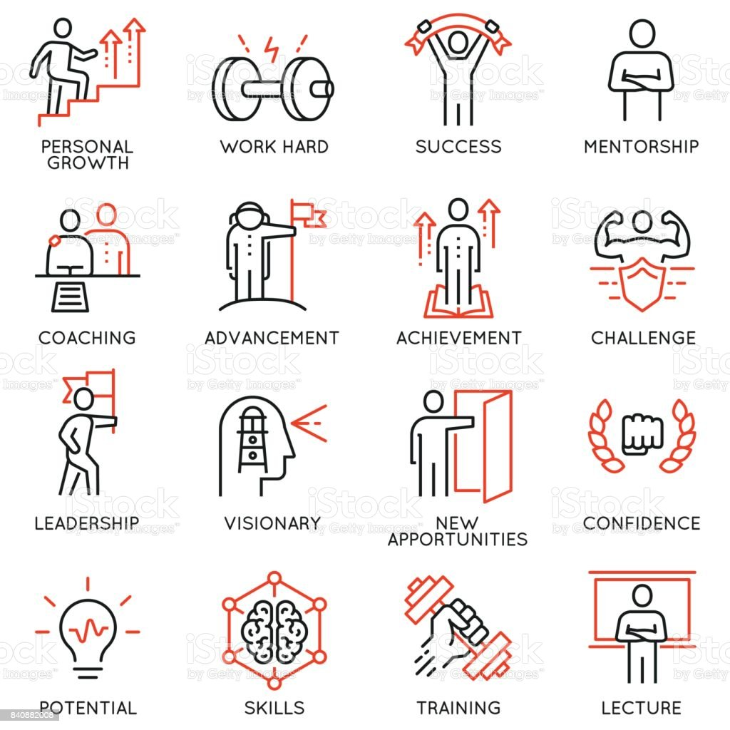 Vector set thin icons related to career progress, coaching, business people training, tutorship and professional consulting service. Mono line pictograms and infographics design elements - part 4 vector art illustration
