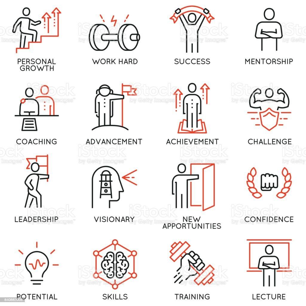 Vektor stellen dünn Icons, die im Zusammenhang mit Karrierefortschritt, coaching, training Geschäftsleute, Vormundschaft und professionelle Beratung. Mono Line Piktogramme und Infografiken design-Elemente - Teil 4 – Vektorgrafik