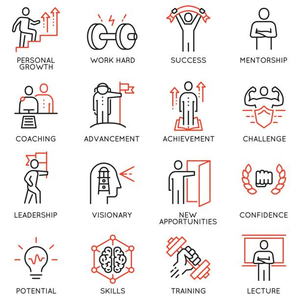 Vector set thin icons related to career progress, coaching, business people training, tutorship and professional consulting service. Mono line pictograms and infographics design elements - part 4 Vector set thin icons related to career progress, coaching, business people training, tutorship and professional consulting service. Mono line pictograms and infographics design elements - part 4 confidence stock illustrations