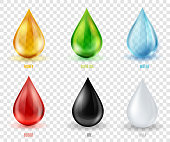 Vector set  transparent drops of various most common liquid substances. A colorful  realistic icon set for your design and advertising of different products.