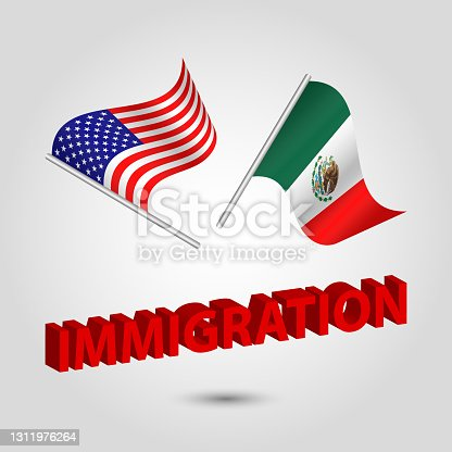 istock vector set two waving crossed flags of usa and mexico on silver pole 1311976264
