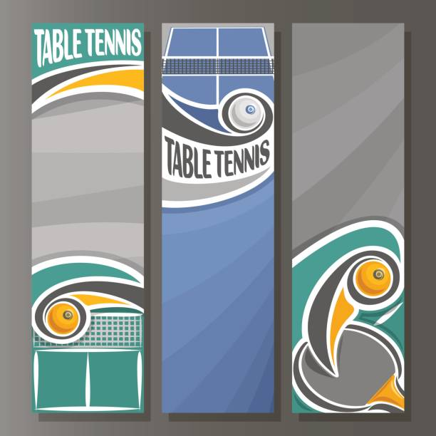 Vector set Vertical Banners for Table Tennis Vector set Vertical Banners for Table Tennis: 3 template for title text on table tennis theme, ping pong racket with flying ball above net, abstract vertical banner for advertising on grey background. ping pong table stock illustrations