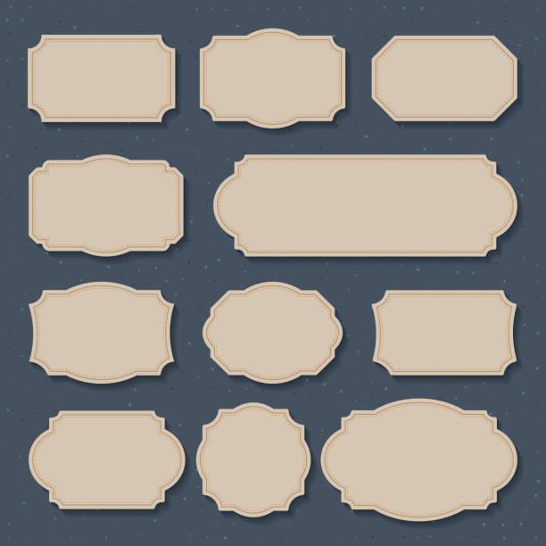 Vektor-Set Vintage-Etiketten und Rahmen. Designelemente für Grußkarten oder Einladungen. Dekorative Texthintergründe. Vektor-Illustration – Vektorgrafik