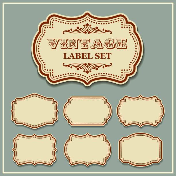 ilustraciones, imágenes clip art, dibujos animados e iconos de stock de conjunto de vectores vintage etiquetas - marcos decorativos