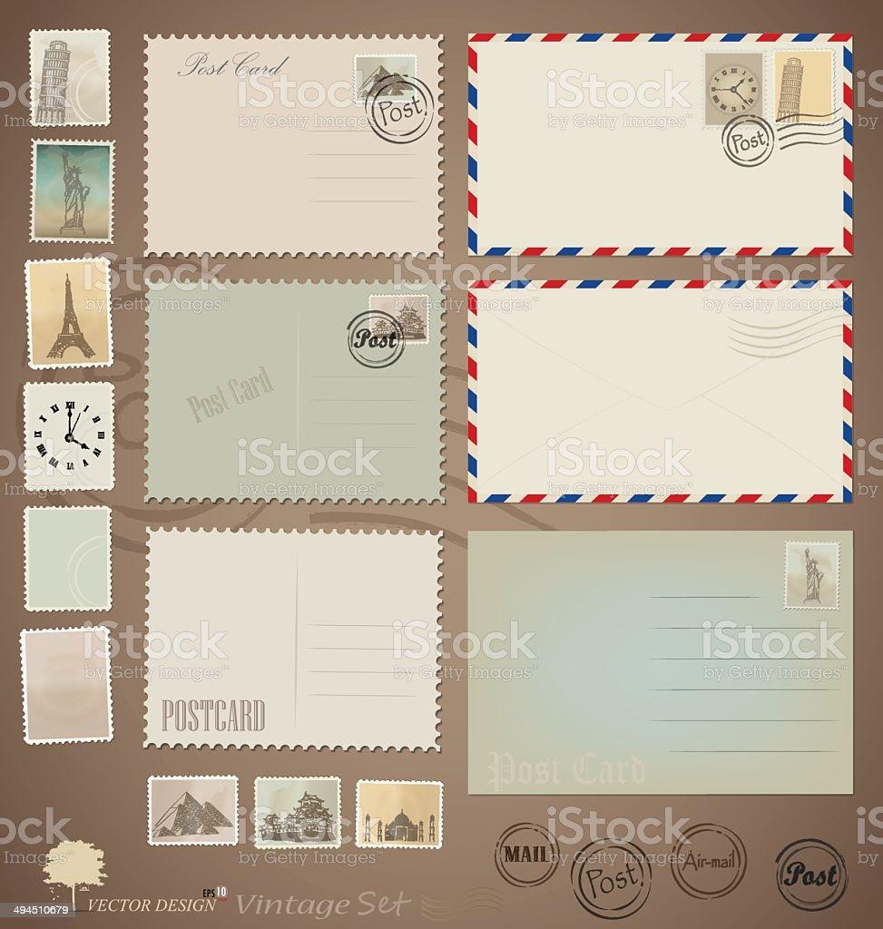 Vector set: Vintage postcard designs, envelopes and stamps. vector art illustration