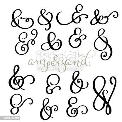 vector set Vintage sign And Ampersand on white background. Calligraphy lettering illustration EPS10.