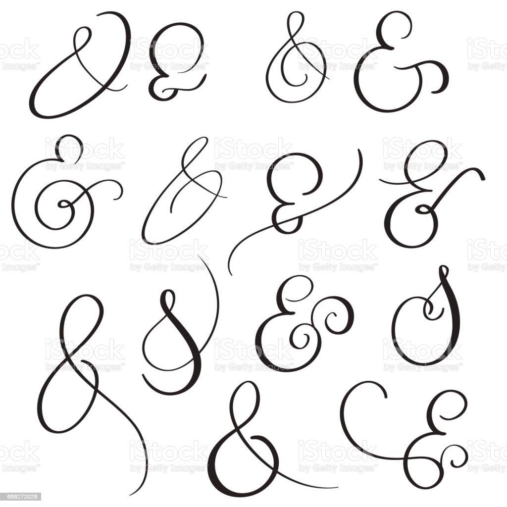 vector set Vintage sign And Ampersand on white background. Calligraphy lettering illustration EPS10 vector art illustration