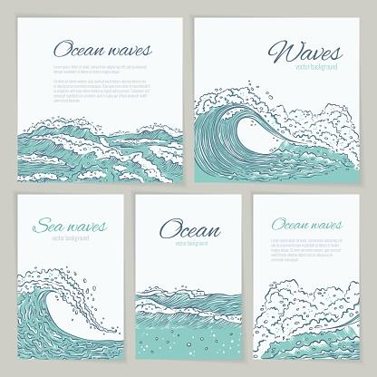 벡터 설정 파도 바다 바다 카드 웨딩 여름 휴가 및 여행 전단지 나 포스터 크고 작은 푸른 파열 스플래시 거품과 거품 흰색 배경에 고립 개요 스케치 그림 0명에 대한 스톡 벡터 아트 및 기타 이미지