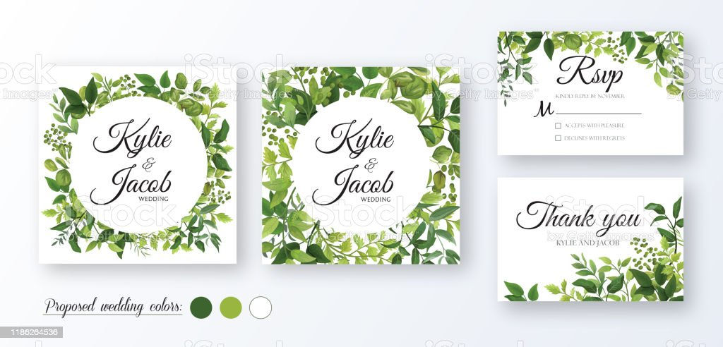 vector set wedding invitation card template design with