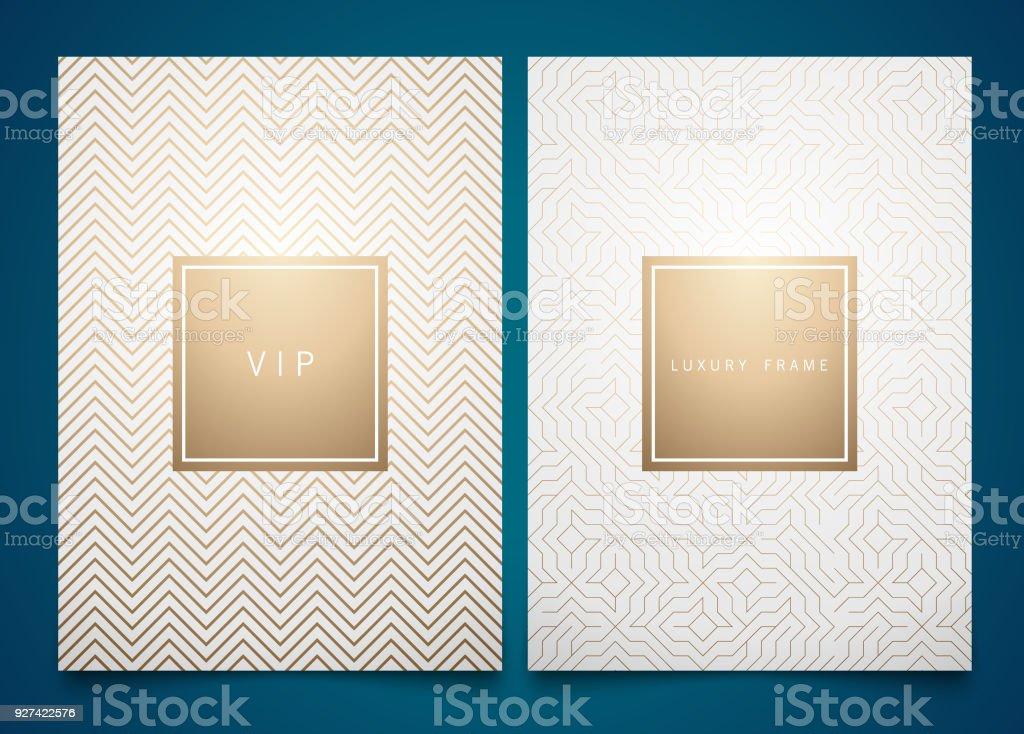 向量設置白色包裝範本與不同的金色線性幾何圖案紋理的奢侈品。時尚的符號設計 - 免版稅傳單圖庫向量圖形