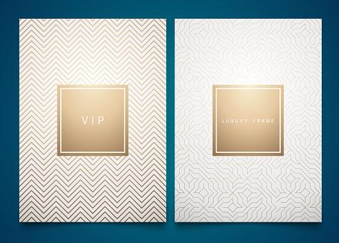 向量設置白色包裝範本與不同的金色線性幾何圖案紋理的奢侈品時尚的符號設計向量圖形及更多傳單圖片