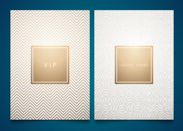 bildbanksillustrationer, clip art samt tecknat material och ikoner med vector ställa vit förpackning mallar med olika golden linjär geometriska mönster textur för lyxprodukt. trendig design för symbol - luxury