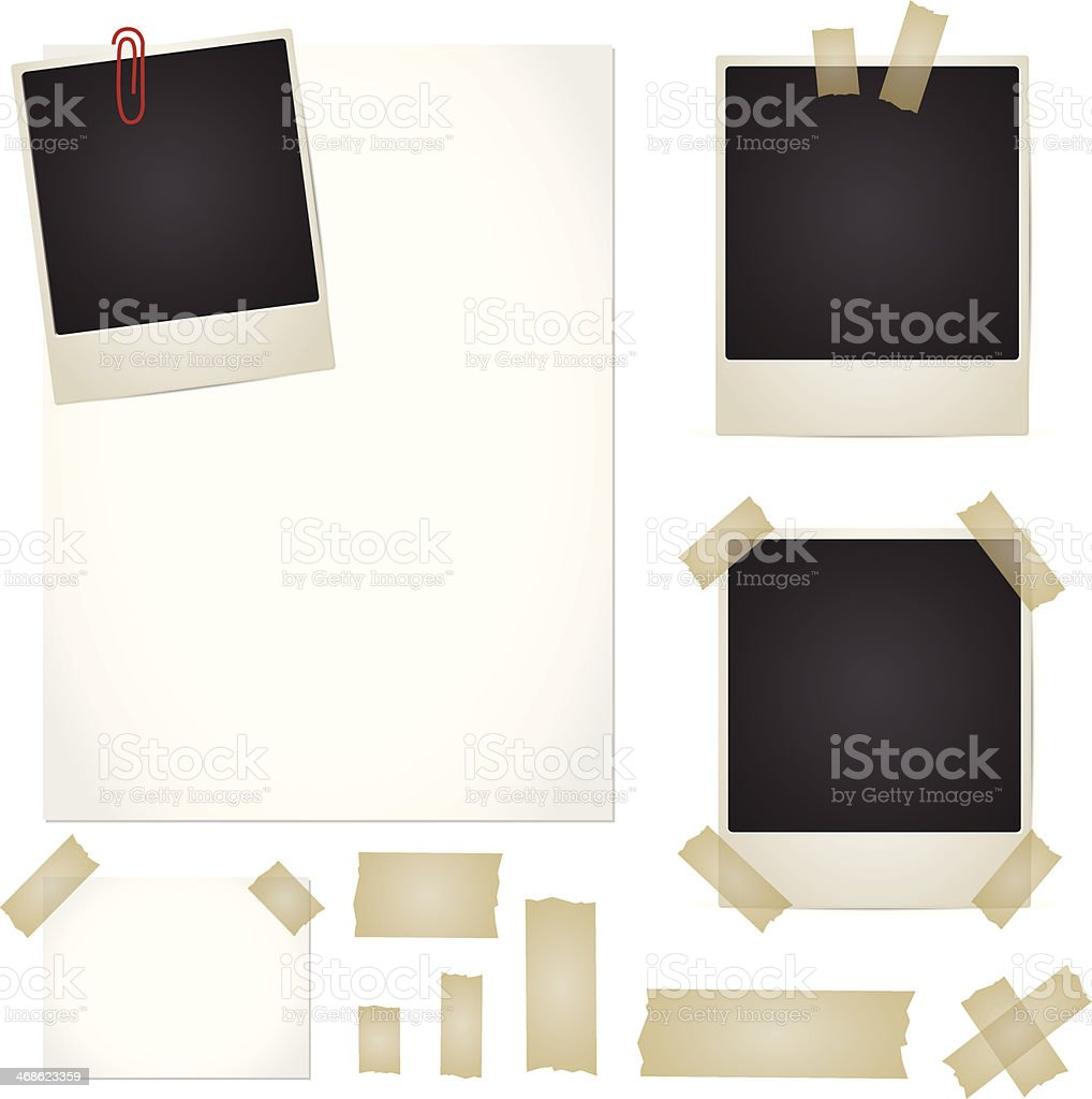 Vector set with adhesive tape, photos, note, pape vector art illustration