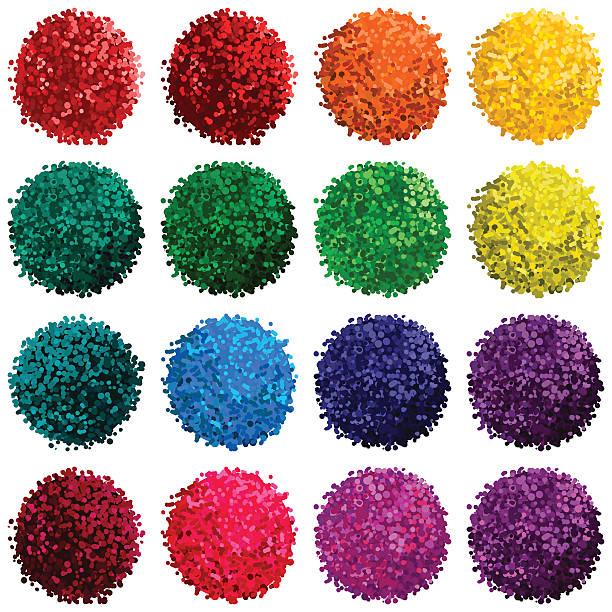 stockillustraties, clipart, cartoons en iconen met vector set with colorful pompon - pompon