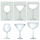Vector set with contour glasses for wine, champagne and martini.