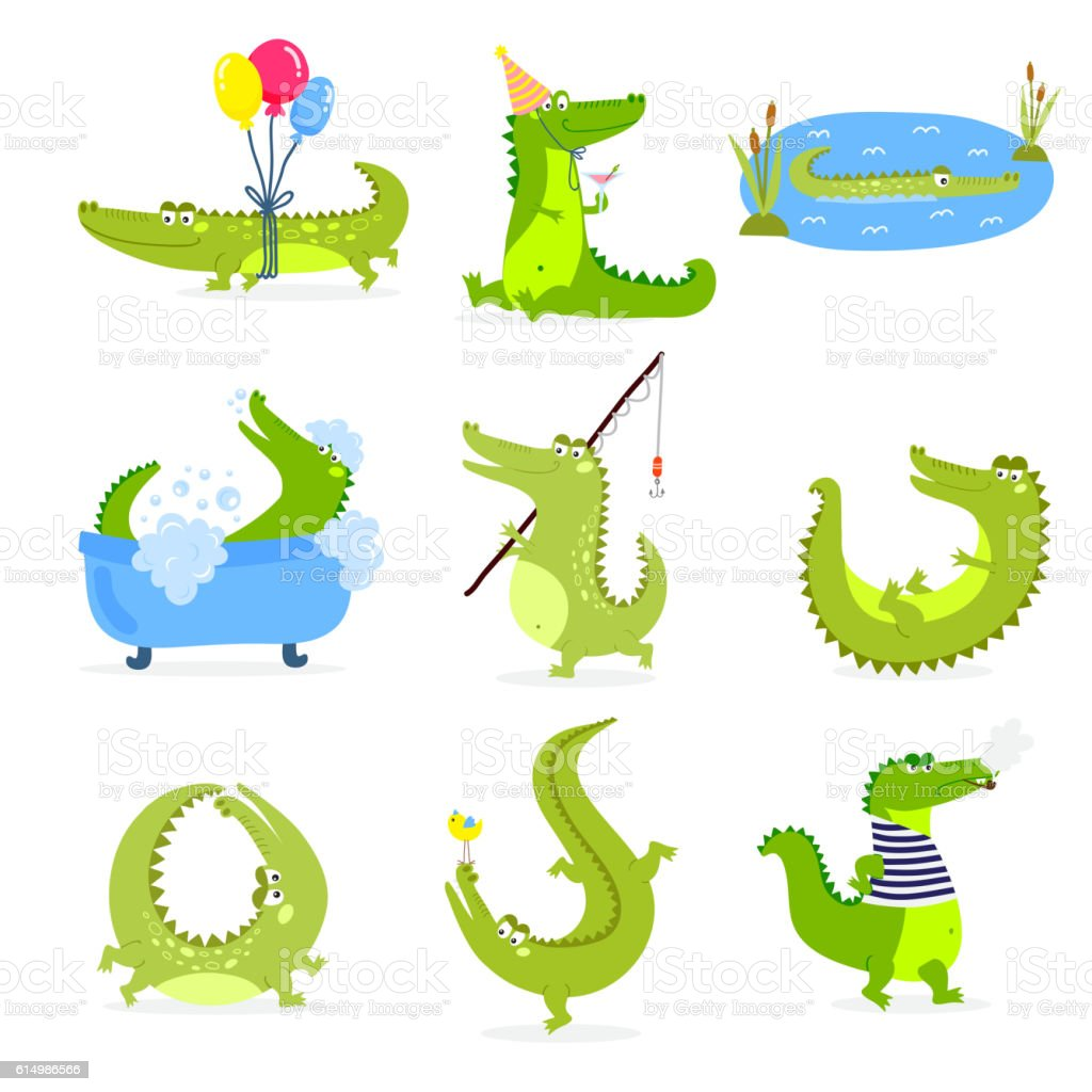 Vector set with cute cartoon crocodiles. - Illustration vectorielle