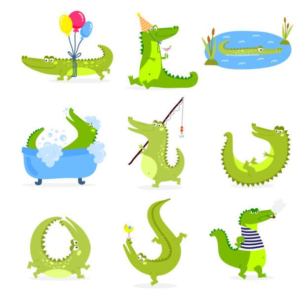 vector set with cute cartoon crocodiles. - crocodile stock illustrations