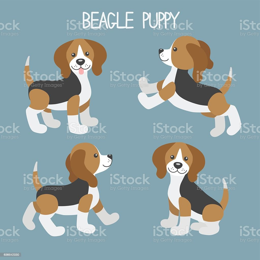 Vector set with cute cartoon dog puppies - ilustración de arte vectorial