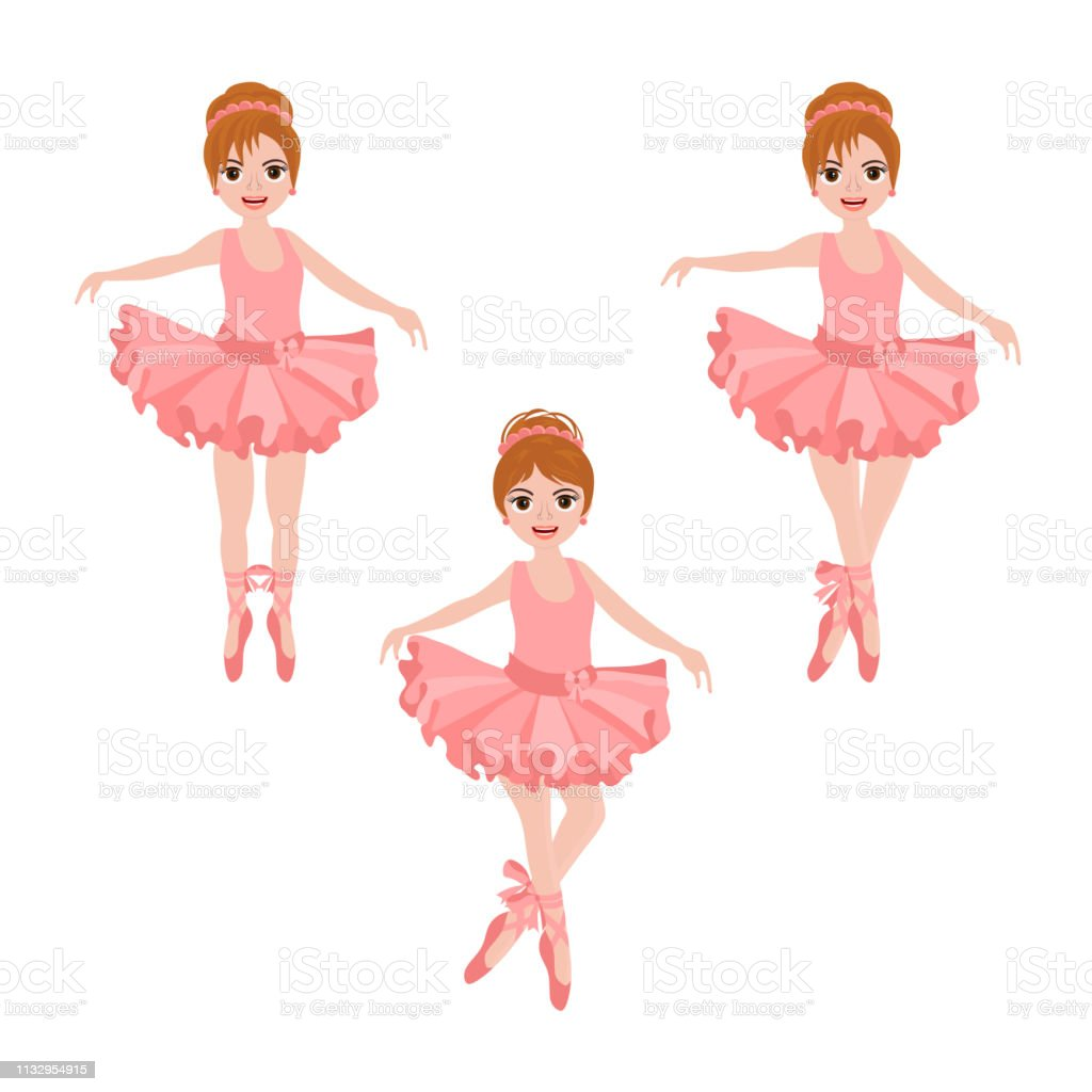 388a22165cc34 Vector set with cute little ballerinas in pink tutu, bows and ballet shoes.  royalty