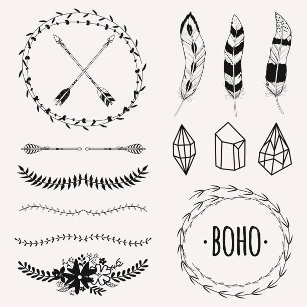 Hand Drawn Boho Collection With Arrows Crystal Feather
