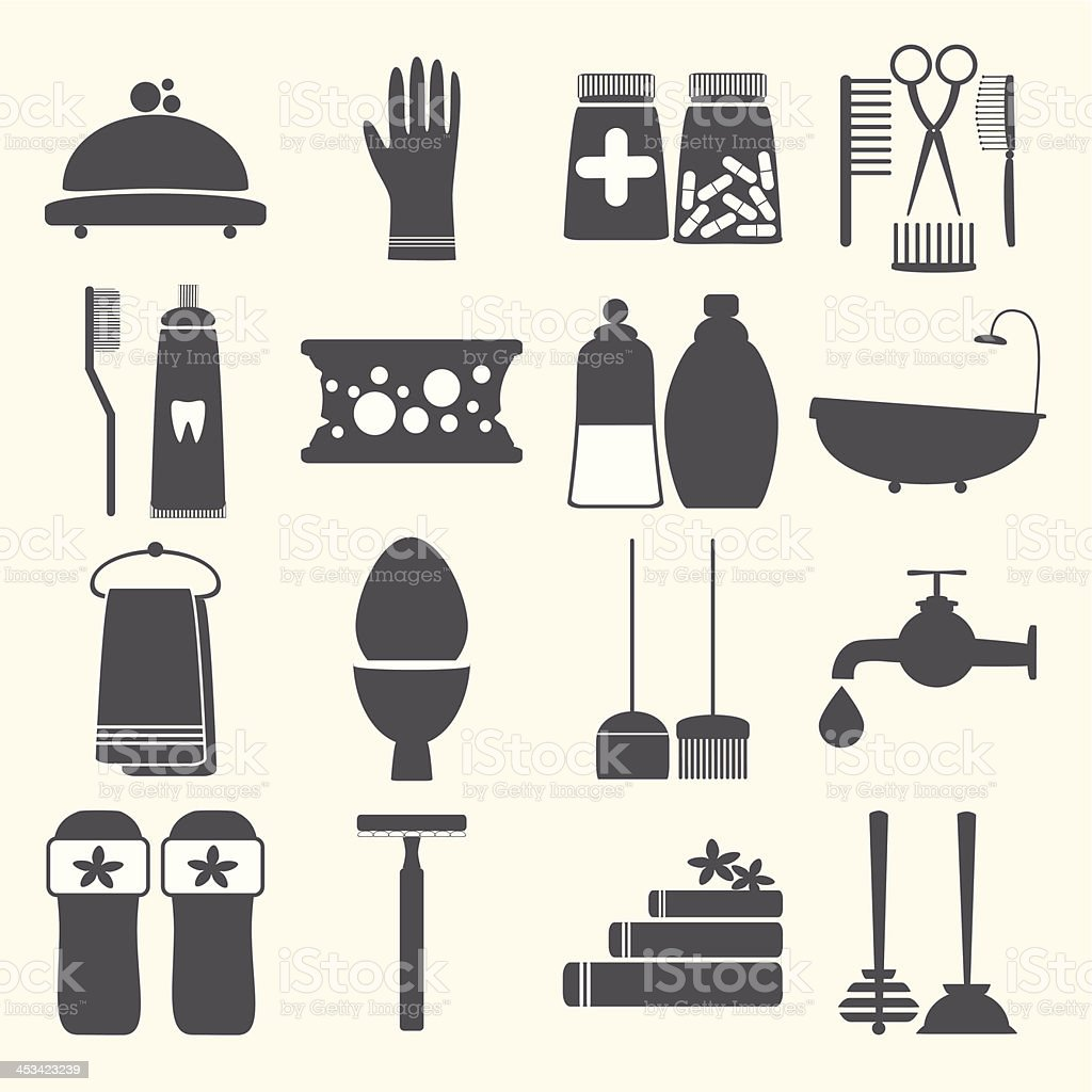 Vector set with decorative hygiene icons silhouettes vector art illustration