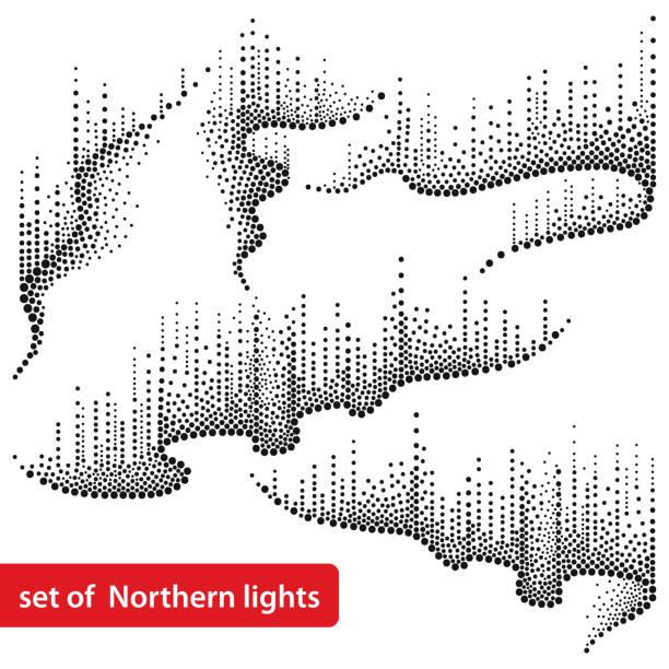Vetor definido com redemoinhos pontilhados de norte ou Aurora Boreal em preto isolado no fundo branco. - ilustração de arte em vetor