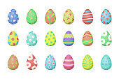Vector set with Easter eggs for decoration on the white background. Concept of Happy Easter.