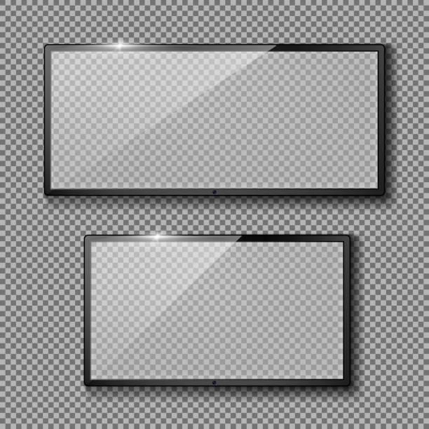 ilustrações de stock, clip art, desenhos animados e ícones de vector set with empty tv frames, flat lcd screens - led painel