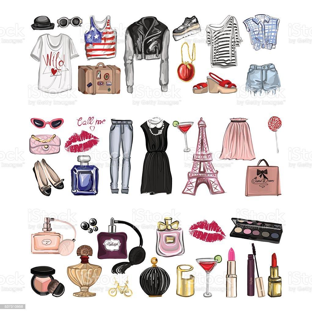 ベクトルセット、ファッションや 香水 の要素デジタル水彩 ベクターアートイラスト