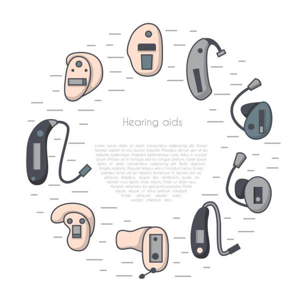 向量設置與扁平線助聽器背景 - hearing aid 幅插畫檔、美工圖案、卡通及圖標